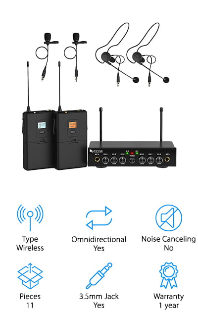 If you're recording with a friend or do a lot of interviews, take a look at the Fifine Lavalier Microphone. This is a set of two headsets and lapel mics that work with a variety of gear. They use interference-resistant UHF band operation and easy frequency matching for clear, static-free transmission. Each receiver and transmitter has an antenna to maximize the signal integrity so that's strong enough to provide over 165 feet of operating range in open spaces. In crowded areas with more obstacles, the range is about 50 feet. The transmitters have an easy-to-read LCD display and the single dual channel receiver has an indicator light so you can see when everything's working properly. Plus, the transmitter is actually set up so you can use four mics at the same time if needed.