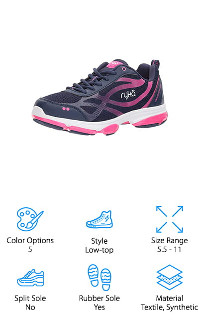 Another great cross trainer that's ideal for Zumba is the Ryka Devotion XT Cross Trainer. These shoes are designed for movement. The midsole provides cushioning under the ball of the foot and the heel and has rubber in key traction areas to both extend the life of the shoe and provide grip. What's extra special about this design is the pod network between the midsole and outsole. Each pod reacts independently. What does that mean? Superior movement reaction for fast pivots and turns. The breathable mesh upper is not only comfortable but it also features a direct attach support system that adds stability for lateral movement. One more thing, the inside is lined with an antimicrobial ortholite footbed to help prevent foot odor, something that comes in handy when you're working hard.