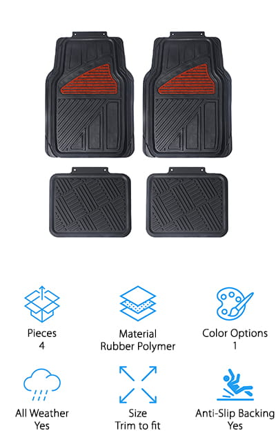 Up next is the Maggift Rubber Floor Mats, a great choice if you want an all-weather mat with a little bit of style. They're made of 100% rubber polymer that's BPA free, non-toxic, and odorless. The high-quality material doesn't crack or permanently bend which provides strong, durable protection that will last through all kind of weather. These trim to fit mats can be customized to fit any vehicle and are easy to clean. They feature a textured surface that won't slide around and a beveled edge that provides extra support and protection. That's not all, the front mats each have a stylish reddish brown panel accent with a marbled look that adds a little bit of elegance in the last place you'd expect to find it. Under your feet.
