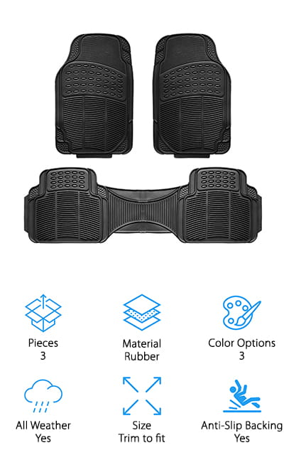 Last but not least are some of the best floor mats for SUVs that we found in our research, the Copap Rubber Floor Mats. These all-weather mats are made of 100% heavy duty rubber and are made for durability. There are three pieces included, two front mats and a large rear mat but they're designed to be trimmed to fit your car and the large rear mat can be easily cut into two. The gear design anti-slip backing keeps the mats in place so you don't have to worry about it slipping while you're driving or allowing dirt and debris to sneak in around the edges. They come in black, gray, and beige so you can match your car's interior. And here's the kicker, this product is covered by a 1-year warranty, something you won't find with most of its competitors.