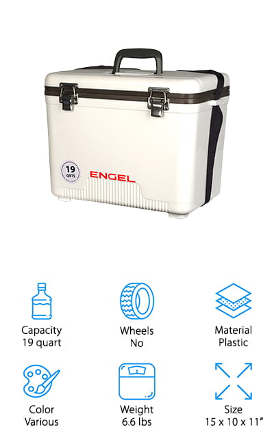 Up next is the ENGEL USA Ice Box Cooler, a lightweight airtight cooler that's actually waterproof up to a depth of three feet which actually makes it a good choice to store things like your camera, medical supplies, or safety equipment when you're out on the road. Of course, if you'd rather use it for food, it's perfect for that, too. An airtight gasket keeps outside air from getting in, keeping your cold food cold. This box cooler is a really good choice for keeping hot food hot, too. This marine-grade cooler features a non-absorbant surface that's easy to wipe clean and it has an easy to carry top-handle and integrated shoulder strap for comfort. All of the hardware is corrosion-resistant stainless steel, too, so this is a perfect choice for fishing or boating.