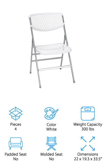 Last but not least is this set of four COSCO Commercial Folding Chairs. These ones are a little different than the chairs we've seen so far because they're actually made of resin mesh, a comfortable durable material that flexes when you sit. The steel frame and tube-in-tube design is tough and built to last and each chair can hold up to 300 pounds. Non-marring rubber leg tips are great for indoors because they won't slip or scratch your floor. That said, these chairs are great for outdoors, too. The mesh design lets air flow through which helps keep you cool on hot summer days, especially if you're at an event that's expected to last a long time. These chairs are really easy to clean and fold quickly for easy storage.
