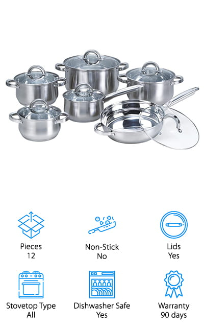 Last but not least in our list of best stainless steel pans is this set of Heim Concept Stainless Steel Pans which has exactly what you need to cook everything from chowder to pasta to sauteed vegetables. This 12-piece set includes a frying pan, saucepan, and four different sizes of casserole dishes. Each features a mirror polished finish both inside and out as well an encapsulated bottom. This helps the pans heat quickly and evenly and provides amazing heat retention. The riveted steel handles are exceptionally strong and durable plus they're really easy to hold. The rims are designed for drip-free pouring and the pans are dishwasher safe so they're easy to clean. These pans are suitable for all cooktops, including electric, gas, ceramic, and induction. One more thing, they're covered by a 90-day warranty.