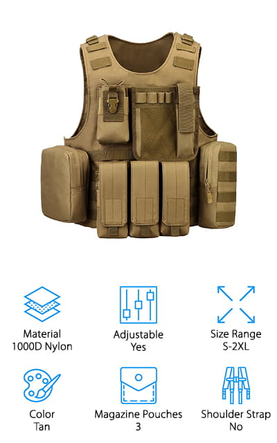 This Tactical Molle Vest by ArcEnCigl is made of ultra-durable military-grade 1000D nylon. It's stitched well and lined with thick PVC so that it isn't going to wear out anytime soon. It contains various MOLLE attachment areas so that you can add all of the extra pouches that you need. Included with the purchase of the vest are three magazine pouches, a map pouch, a walkie talkie pouch, and flashlight pouch. There are two additional communication pouches and a single medic pouch, and all of them are removable so you only have to attach what you need. The lightweight load-carrying system includes a suspension belt that helps keep the weight evenly distributed so it doesn't slow you down too much. It's great for tactical training, the military, or for airsoft battles and paintball games. This particular vest is tan, though there are other color options available. This well-constructed vest is versatile and useful for a variety of activities.