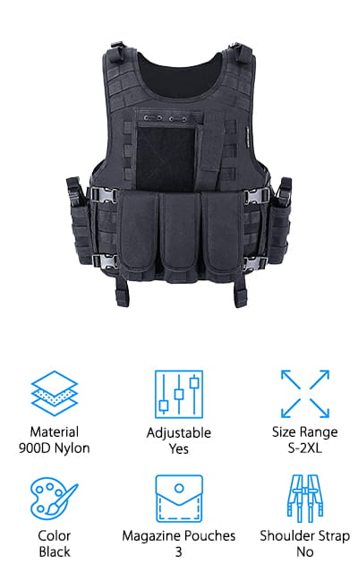 Last on our list is this MGFLASHFORCE Tactical Vest that includes everything you need for airsoft and paintballs, or even when you go camping or engage in other outdoor activities. It's a completely adjustable vest that comes in sizes between small and 2XL, perfect for all body sizes and types. IT's durable and comfortable, made of 900 denier nylon. It's well-constructed and coated with a thick layer of PVC so that the nylon isn't going to wear out anytime soon. There are a ton of different pouches included: 3 mag pouches, 1 map pouch, a flashlight pouch, 2 communication pouches, and a medic pouch. Each of these bags is removable so you can choose whether or not you want to use them. It's a flexible, versatile vest that you can use for just about anything, and you're definitely going to enjoy wearing it out in the field, during your games, or while you're hunting or camping.