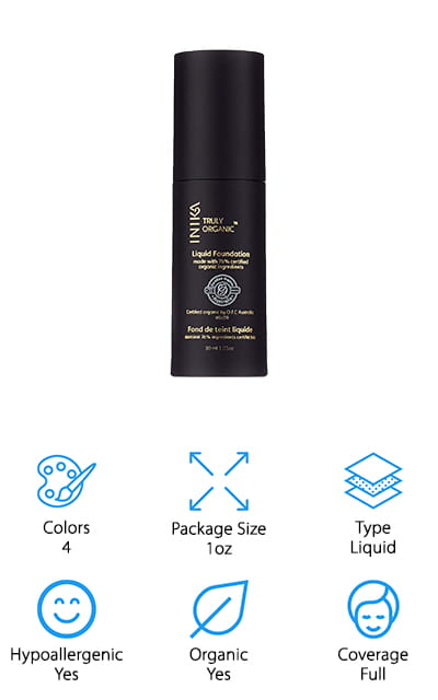 This foundation by INIKA is an organic, award-winning foundation that gives you a flawless, full coverage and intense moisturizing experience. It's the perfect base for bronzers, highlighters, and other makeup, and even though it's a liquid it isn't going to leave you with an oily residue. It's great for balancing out an uneven skin tone, working on your inner glow, and it's non-comedogenic so it won't clog your pores. It's also hypoallergenic and completely organic. There are four colors in the line, so you'll have to find one that matches your skin tone pretty closely. Still, it's full of aloe vera and jojoba oil for excellent, soothing hydration. It's cruelty-free, vegan, and it's even certified Halal, so everyone can enjoy these great benefits. You're going to love the beautiful, flawless coverage that leaves your skin feeling great and looking perfect. It's a great makeup brand that puts being non-toxic before anything else. You're going to love it.