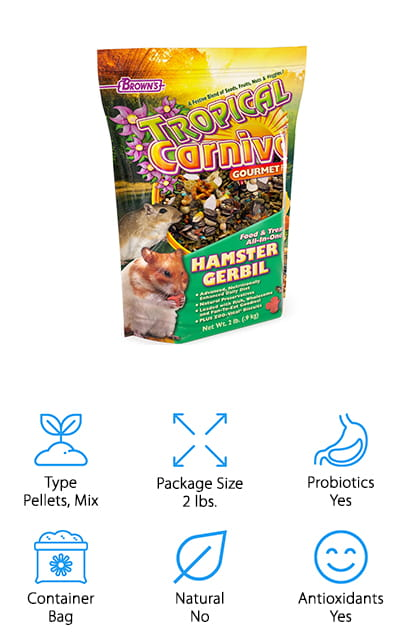 Our final hamster food is this delicious mix from Tropical Carnival that your hamster will love to chomp on every day! We think this is a great mix for hamsters that enjoy foraging for their favorite foods and snacks. It's even great for picky eaters! There are a wide variety of natural ingredients like grains, seeds, fruits, vegetables, and even pasta! The mixture of different sizes, textures, and flavors will keep your hamster interested in its food and encourage healthy foraging habits. The pellets and pasta are tough enough to grind down chewing teeth to keep them clean and healthy. The seeds have healthy protein for energy and fats to promote healthy organs and fur. The dried vegetables and fruits provide natural antioxidants and vitamins for a healthy immune system. We think that this is a great mix for multiple hamsters because the variety of flavors and textures allows each hamster to pick out only the foods they enjoy most!