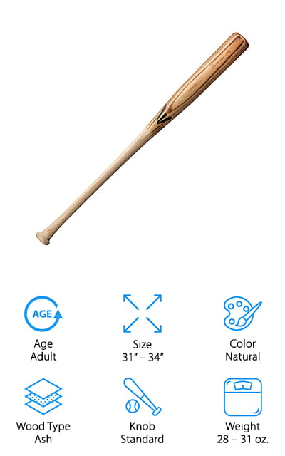 """While ash bats typically make better practice bats, the 243 bat from Easton is actually built specifically for power hitters! It's made with the same high-quality wood they use to make their MLB bats, but without the professional player price tag! We like that the ash is lightweight and has a bit of flexibility to it, which gives power hitters a larger """"sweet spot"""" to hit off of. This means your hits will travel faster and farther! The bat is slightly heavier on the end of the barrel, which also improves your power while you swing away. The cupped end also reduces the weight without giving up precious bat length! We also like that the handle is tapered with a standard knob, so you can get plenty of grip on the bat – or add your favorite grip tape for even more control! For a harder, faster swing that knocks balls out of the park, grab this bat from Easton!"""