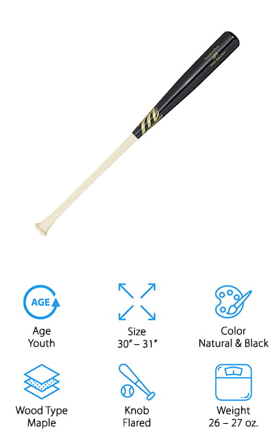 Last up is one of our favorites from Marucci that youth baseball players will love to swing. Marucci created a line of bats inspired by former MLB player Alber Pujols, and this youth-sized model is scaled down to work well for all kinds of batters. It's made of solid maple, just like their professional bats. We like that this bat has been bone-rubbed, which compresses the wood to make it even stronger and more durable. They made the barrel slightly larger to give young players a bit more surface area to hit off of. The handle is thin, which means even little hands won't have a problem getting a good grip on it! It's also lightweight, so your child can take this to practice or on a weekend tournament and not worry about getting tired out. We think that this would make a great gift idea for a young baseball player who wants a bat just like the pros use!