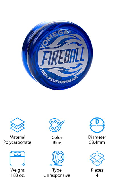 If you're looking for a classic plastic yo-yo that allows you to do more advanced tricks, consider the Fireball from Yomega! We like this yo-yo because it's a classic that's been around for years. You may even remember having one as a kid! The plastic body is lightweight, making this great for young beginners who already know how to do a few basic tricks and want to learn more. It comes with Yomega's own transaxle system, which is an unresponsive axle that has an extra sleeve on it that allows your yo-yo to spin longer – much like a responsive yo-yo. This may take some getting used to if you've been using unresponsive yo-yos, but once you do, you'll love the added spin time and control! This comes with the yo-yo and a set of 3 strings, so you'll be all set and ready to roll right out of the package! It's a great gift idea the whole family will enjoy!