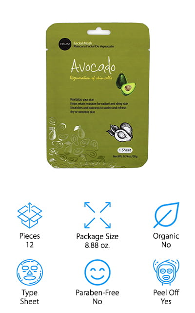 The final avocado mask we are reviewing is a super-hydrating sheet mask that contains lots of high quality and soothing ingredients to keep your skin looking beautiful. This set of 12 sheet masks is a great value, and they are perfect for taking with you wherever you need a little extra skincare love. They are airline-friendly, so you can put one on during a long flight to combat the drying air in planes! We also think they make a great everyday mask because they're made of gentle ingredients like avocado extract, licorice root extract, vitamin A, and collagen. This mask also contains hyaluronic acid, which helps your skin retain moisture long after the mask has been removed and rinsed away! We think these also make great gifts because they come in 9 different varieties, so you can get your friends a bunch of different masks to try out on a girls' night in, or at home after a long day!