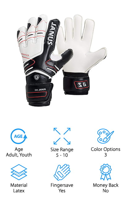 Another pair of the best goalkeeper gloves for youth that also comes in adult sizes is the Valorsports Goalkeeper Gloves. They feature a classic flat-cut finger that's firm, durable, and designed to stand up to a lot of abuse. There are fingersaves in the back of the hand protect the fingers from hyperextending a well as a hard EVA backing that adds flexible protection. That's not all, it's also extremely difficult to damage so you can use these gloves repeatedly over a long period of time. A double-layer wrist design has a comfortable inner layer or knitted elastic and an outer layer with a stretchable Velcro closure. It's comfortable, supportive, and protects the joint from possible injury. These gloves are available in three different color options, all primarily white with either black, red, or blue accents.