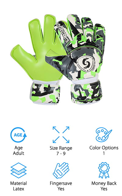 Last up in our best goalkeeper gloves review are the Sportout High End Goalkeeper Gloves. These adult gloves have removable fingersaves so you can leave them in when you want the protection or take them out when you need more flexibility. They have enhanced palm and finger protection, too, and give you a good balance between durability and performance. The 4mm latex material is wear-resistant and gives you anti-slip grip for exceptional ball control. That's not all, the sides of the fingers feature breathable fabric that allows your hands to breathe, keeping your hands dry and comfortable. Around the wrists are double-layered wristbands. The inner elastic layer and close fitting Velcro outer layer ensure the right fit and provide extra protection for your wrists. One more thing, they come with a 100% money-back guarantee if there's any problem with your product.
