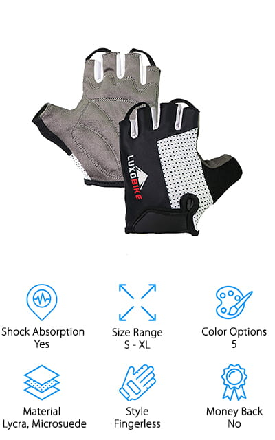 Last but not least in our mountain bike glove buying guide is the LuxoBike Mountain Bike Gloves. The coolest thing about these gloves is the four-zone padding system. They're strategically placed around the palm for dampening vibration and minimize numbness on long rides. The palm itself is made of microsuede which provides some grip, too, for the best contact with the handlebar. That's not all, the back of the glove is made of stretchable Lycra that's comfortable and allows your hands to breathe. It dries quickly to prevent sweat from accumulating in the glove. There's also a thumb towel cloth to wipe away sweat when you're can't stop. Pull tabs make these gloves easy to get off and on and the adjustable Velcro wrist adjusts for just the right fit.