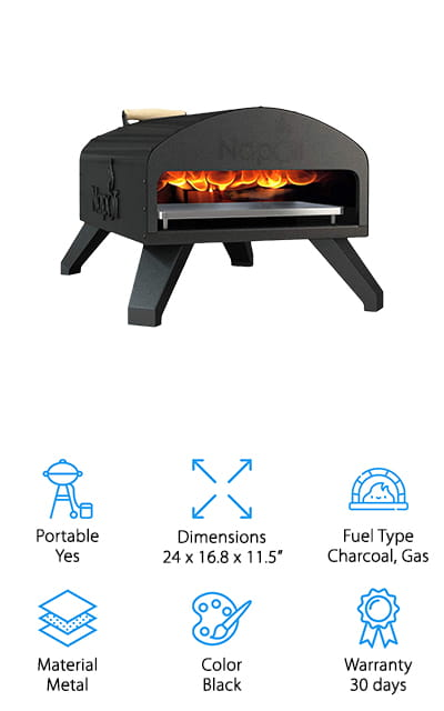 The Napoli Outdoor Pizza Oven is a great pick if you're looking for a small outdoor pizza oven. You can use gas, charcoal, wood, or pellets as fuel so, whether you're in the mood for wood-fired pizza or the ease of a gas-powered cooker, it delivers. This over gets as hot at 920 degrees F which is much hotter than your regular over and perfect for making a crispy crust and melty toppings. It comes with a cordierite stone, wood chip/pellet scoop, and wood/charcoal/pellet tray so you have just about everything you need to get started. The portable design can be taken just about anywhere and makes tailgates or camping trips extra special. Plus, it's really versatile so you can use it to cook other things, too.
