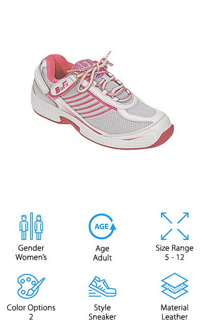 If you're looking for some serious foot support, try the Orthofeet Athletic Shoes. They come with a premium orthotic insole that provides anatomical arch support as well as a cushioning heel pad that moves and contours to the shape of your foot as you walk. Not only do you get the support your feet need but you might even feel a difference in your knees, hips, and lower back. These shoes are great for people with a variety of foot problems including hammertoes and bunions. Why? Because they have a wide toe-box and an extra deep design that eliminates pressure and provides superior comfort. The lining is soft, seam-free, and foam padded, too, making them a good choice for people suffering from heel pain.