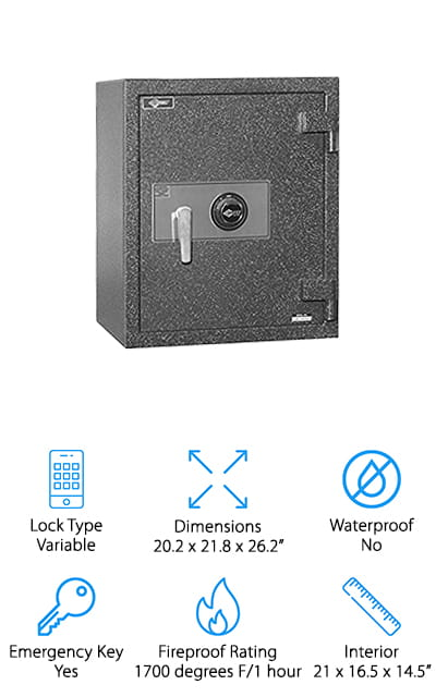 Last but not least is the Amsec Burglary Rated Fire Safe. It features inner and outer steel plates that make it burglary-proof and give it a fireproof rating of one hour at up to 1700 degrees F. In addition to three massive one-inch diameter solid steel chrome-plated locking bolts, this safe also uses a full-length dead bar lock that goes deep into the body to prevent the door from being removed, thwarting any attempts at forced entry. Inside, there's a fully adjustable shelf and a recessed anchor bolt hole. Mounting hardware is included so you can safely anchor it to the floor. This safe has a great warranty, too. Lifetime fire replacement and one-year parts and labor.