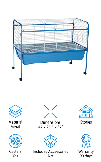 The Prevue Tubby Rabbit Cage is a giant indoor rabbit cage with a very simple design. It's made up of a heavy-duty tubular steel stand and an extra deep pan that contains any mess from getting all over your floor. The pan is elevated off the floor and the entire top of the cage opens so it's really easy to access every nook and cranny when it's time to deep clean. That's not all, there are four casters so you can easily move it from room to room and the one-inch wire spacing is perfect for rabbits, guinea pigs, and other small pets. That's not all, the metal is covered with a bright blue powder coat so you can even roll it outside to give your bunny some fresh air.