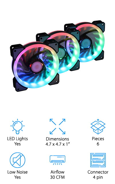Last but not least in our best PC fans for cooling review is the LEDdess CPU Coolers. This is another one that performs really well while looking really awesome. This set comes with three fans and two LED strips but this cooling system is actually capable of supporting up to 10 fans in all. The ultra-thin blades operate with less noise, vibration, and turbulence for effective airflow and large volume cooling. This setup is capable of a variety of impressive lighting effects. The wireless remote lets you adjust speed, mode, and color at the push of a button. There are a variety of different lighting effects to choose from including a really cool rainbow wave and hundreds of other preset patterns to choose from.