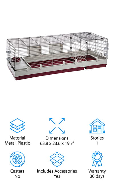 If you need a huge indoor rabbit cage that can accommodate multiple bunnies, check out the Ferplast Rabbit Cage. What's great about this cage is it comes with a separate extension that's perfect for nesting. You can use the cage as is or add on the extra space if you find your pets need more room. The plastic base is large and high enough to contain litter or bedding, preventing it from getting all over your floors. Large front doors open wide for easy access and maintenance and the whole thing is really easy to assemble and disassemble when needed. It comes with a feeding bowl, two 600ml drinking bottles, and two hay feeders. There's also a rabbit hole with a partition and steps for when your pet needs some privacy.