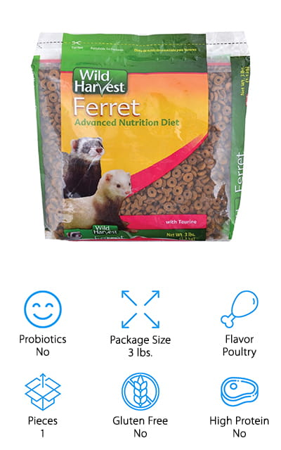 This ferret food is made with taurine, which adds even more nutrients that your pet needs. Made to provide plenty of protein, fat, and vitamins, this is going to be high-quality food that you definitely don't want to ignore. It's flavored with poultry, which is going to make your pet even happier, as is the easy to eat style of the food. There will be plenty of everything that your pets need and that's going to allow them to grow and develop the way they should throughout their entire lifespan. With this product, your ferrets are going to have healthier hearts as well as healthy eyes. On top of that they're also getting the daily nutrients they need and you're getting a small bag of food that's easy for you to feed out to them before it goes bad.