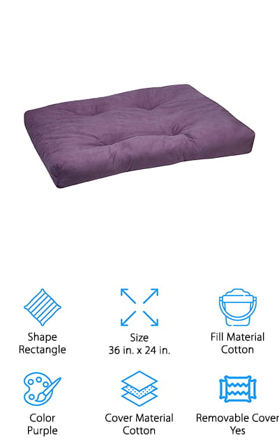 This isn't exactly an ergonomic meditation cushion but it's going to keep you comfortable while you meditate. It's available in several different colors, so you can choose something that you really enjoy. It's also rectangular, which means you can sit in far more positions than with a round cushion. It's also large and designed to provide a super soft surface. That's great for your entire body, especially when you're planning on sitting and meditating for extended periods of time. When you're ready to wash it up you can easily remove the cotton cover and throw it right in the washing machine. That's going to make it super simple and get you right back to enjoying your cushion and your next meditation session.