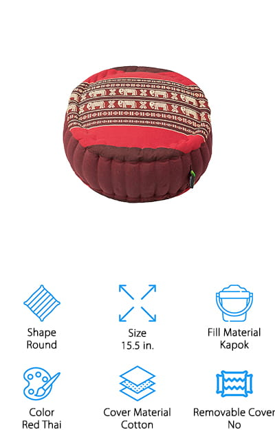 This one is a kapok meditation cushion that you're going to love. It's available in several different colors and patterns, so you can get something that you really enjoy. It's also going to give you the fill material that you're looking for. It's filled with kapok, which is a hypoallergenic and hygienic material that's actually a plant fiber. That means you can feel even better about using this product and about how sustainable and eco-friendly it actually is. But you're going to love the quality of this cushion even more. It's made with double-stitched seams and it's tightly stuffed. Plus it's made to be firm and still comfortable at the same time. You'll be able to sit easily in the lotus position, for as long as you want to meditate, and when you're ready to head out again you can take your cushion with you when you do.