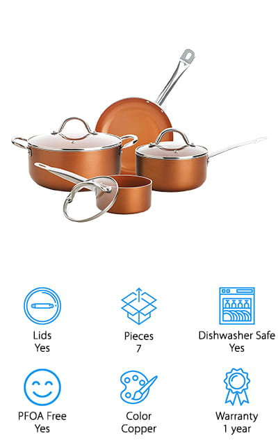 This one isn't quite solid titanium cookware, but it's definitely great quality because it's made with high quality aluminum and a titanium coating. It also has a sleek copper exterior that's definitely going to make you feel great about using it and showing it off in your kitchen. You'll get 7 pieces in total, including Dutch ovens and lids for your pans. All of that makes it easier to cook just about anything and the fact that they're PFOA and PTFE free means that they're healthier and safer for your entire family. Plus, they're dishwasher safe. You're going to get a 1 year warranty on everything and you'll have a great non stick coating that you can count on to make your clean up process even easier, even if you don't actually have a dishwasher.