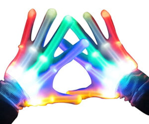 Geek Gift LED Light Up Skeleton Gloves for Raves and Parties