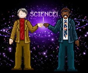 Neil DeGrasse Tyson Carl Sagan Cosmos Pixel Art Print