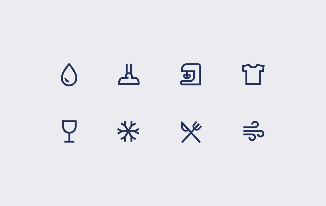 A number of symbols as seen on the electrolux site