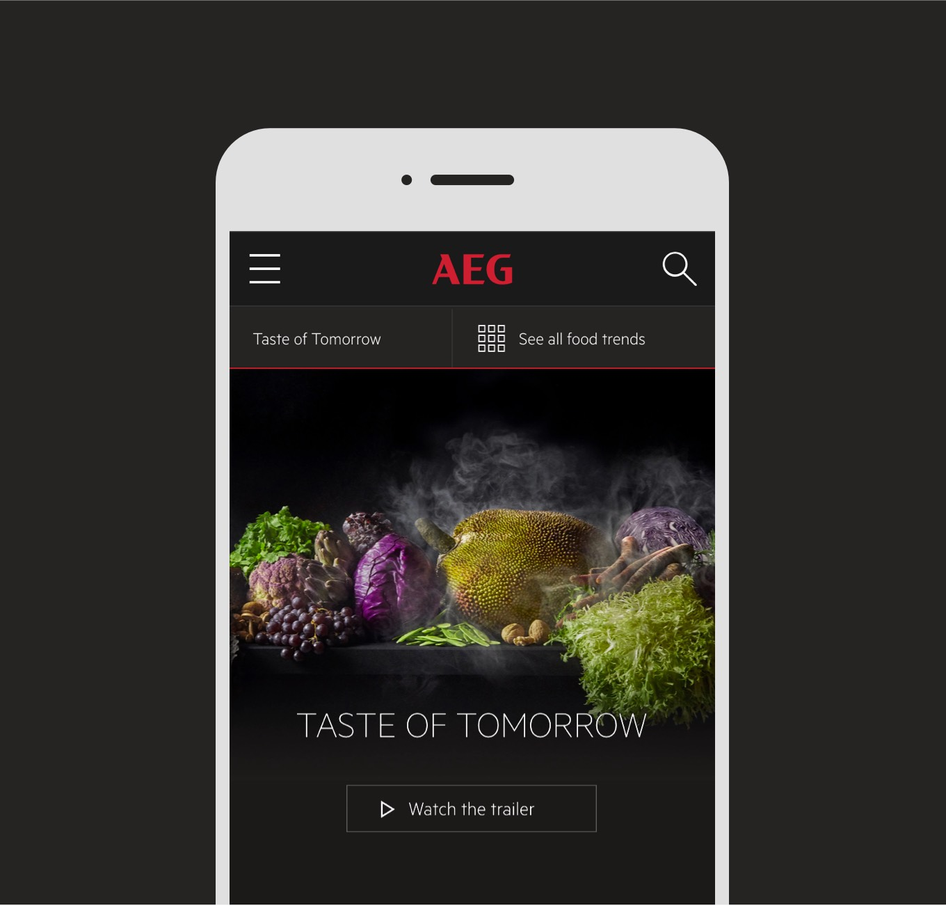 taste of tomorrow, a page on the AEG mobile site