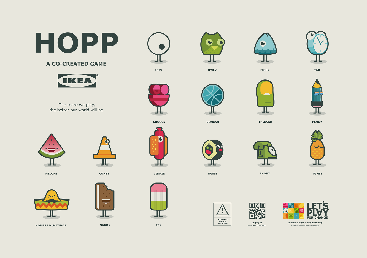 All the playable characters from the Hopp co-created game for IKEA