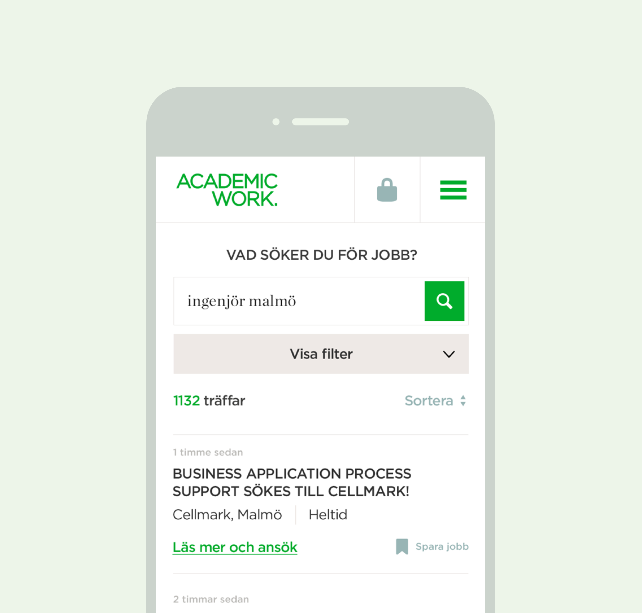 The Academic Work mobile site