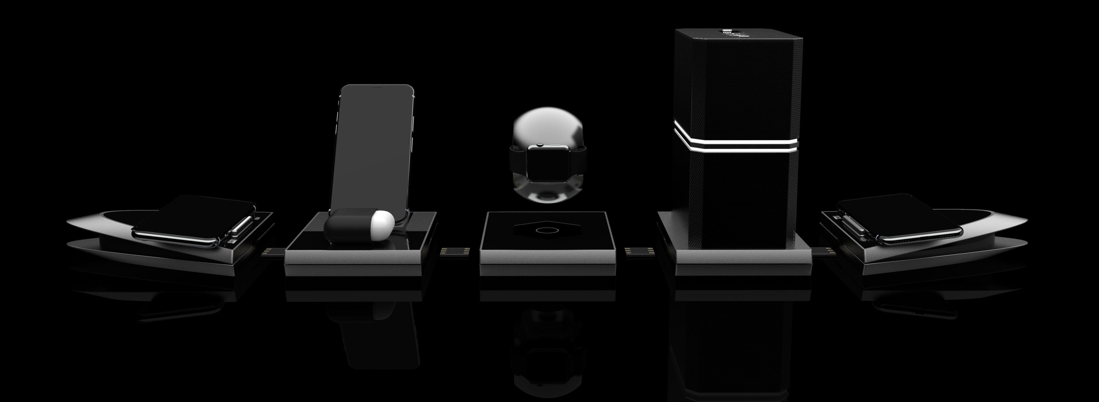 Photo of our AirPower alternative called Valkyrie which is a modular collection of devices that features a fast charging wireless charger, iPhone X and Apple Airpods charger, a levitating Apple Watch charger, and a wireless bluetooth 5.0 speaker