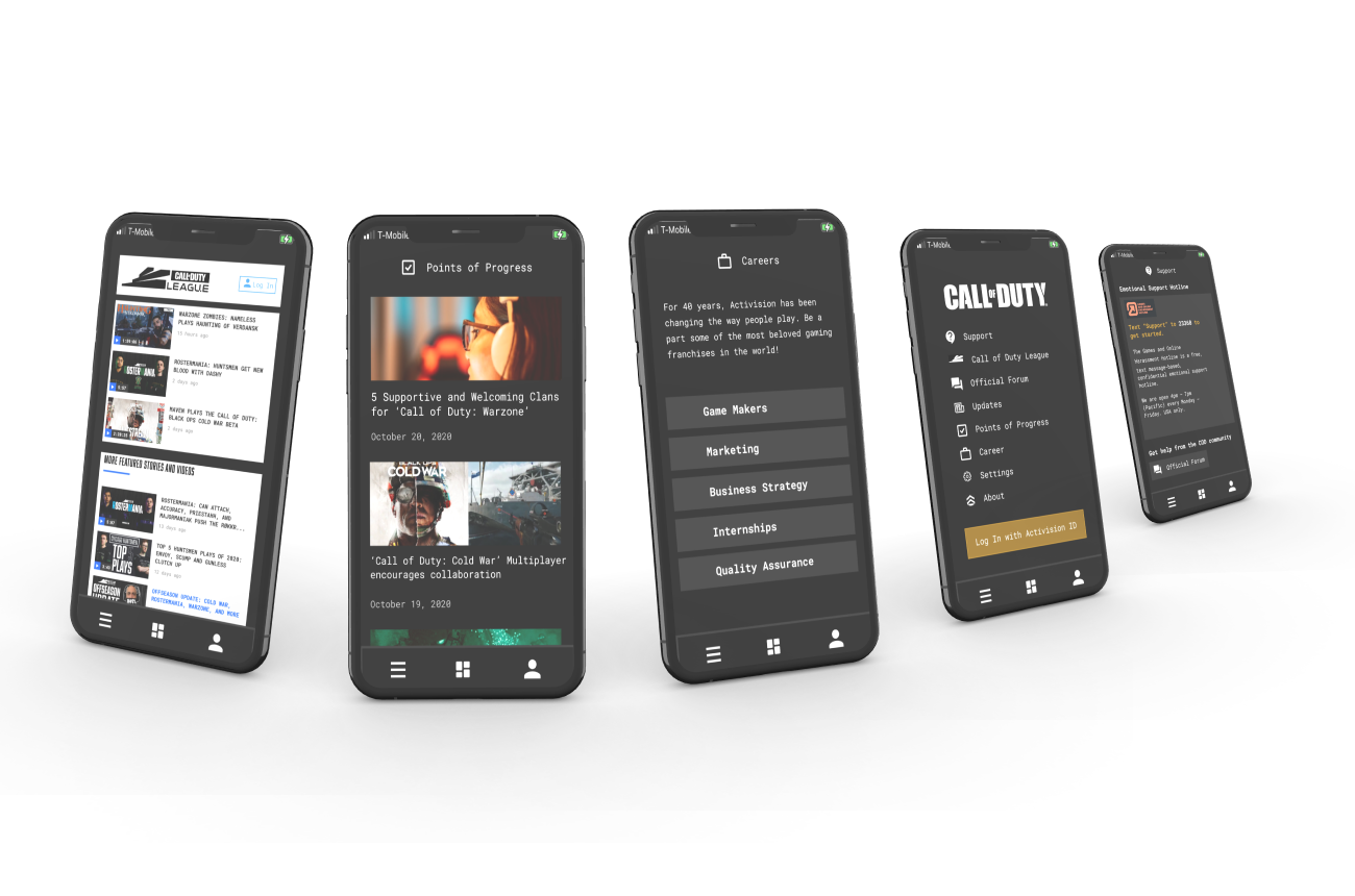 """A image of a mock up of a phone showing a blog post that says """"5 supportive and welcoming clans for 'Call of Duty' Warzone."""