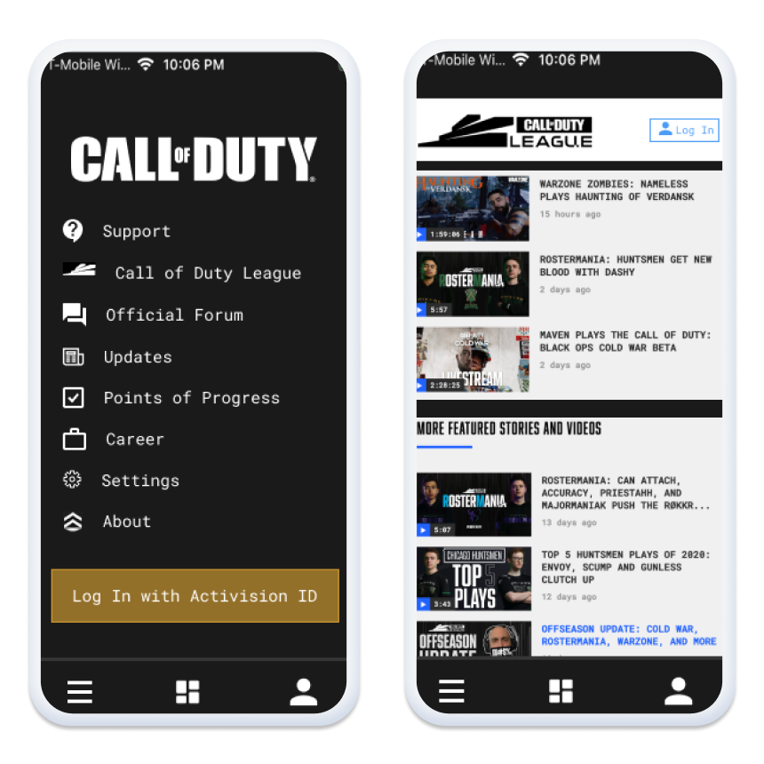 Users should be able to access many functions of the Call of Duty app before logging in. The inclusion and highlight of ESports with Call of Duty will hopefully increase the accessibility of the game.