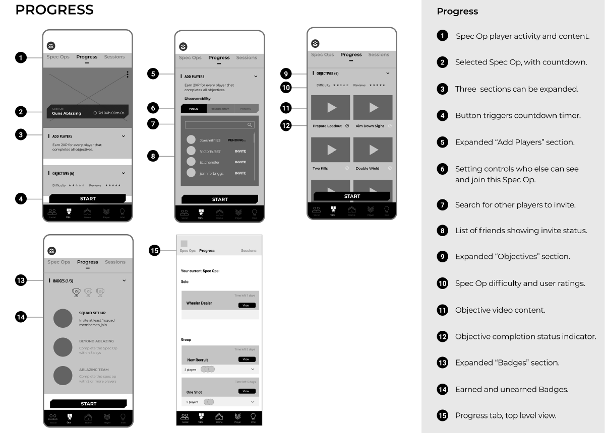 Annotated wireframes of the new onboarding feature on the companion app.