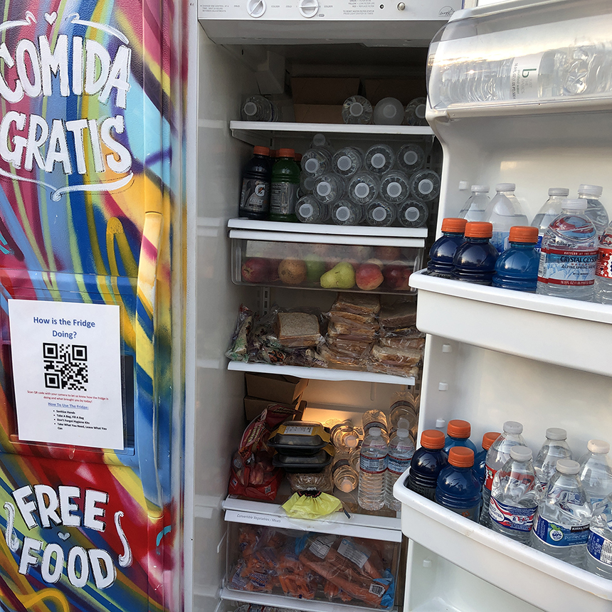 Visiting a community fridge for observational research.