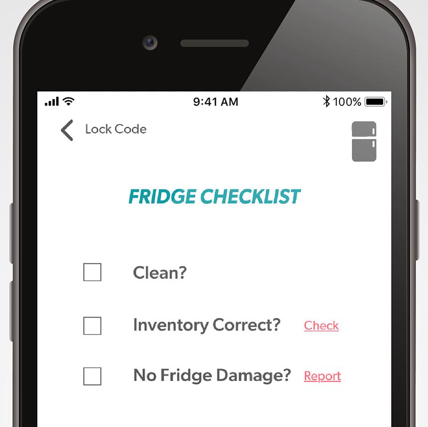 Facilitating fridge maintenance with checklist system for volunteer portal.