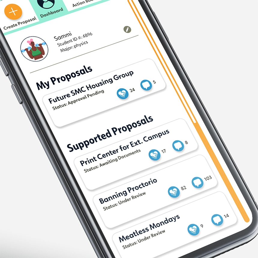 Mobile version of student dashboard.