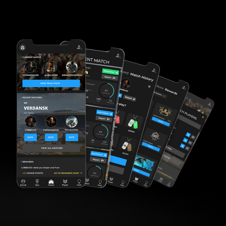 activision companion app player ratings matchmaking mobile prototype screens