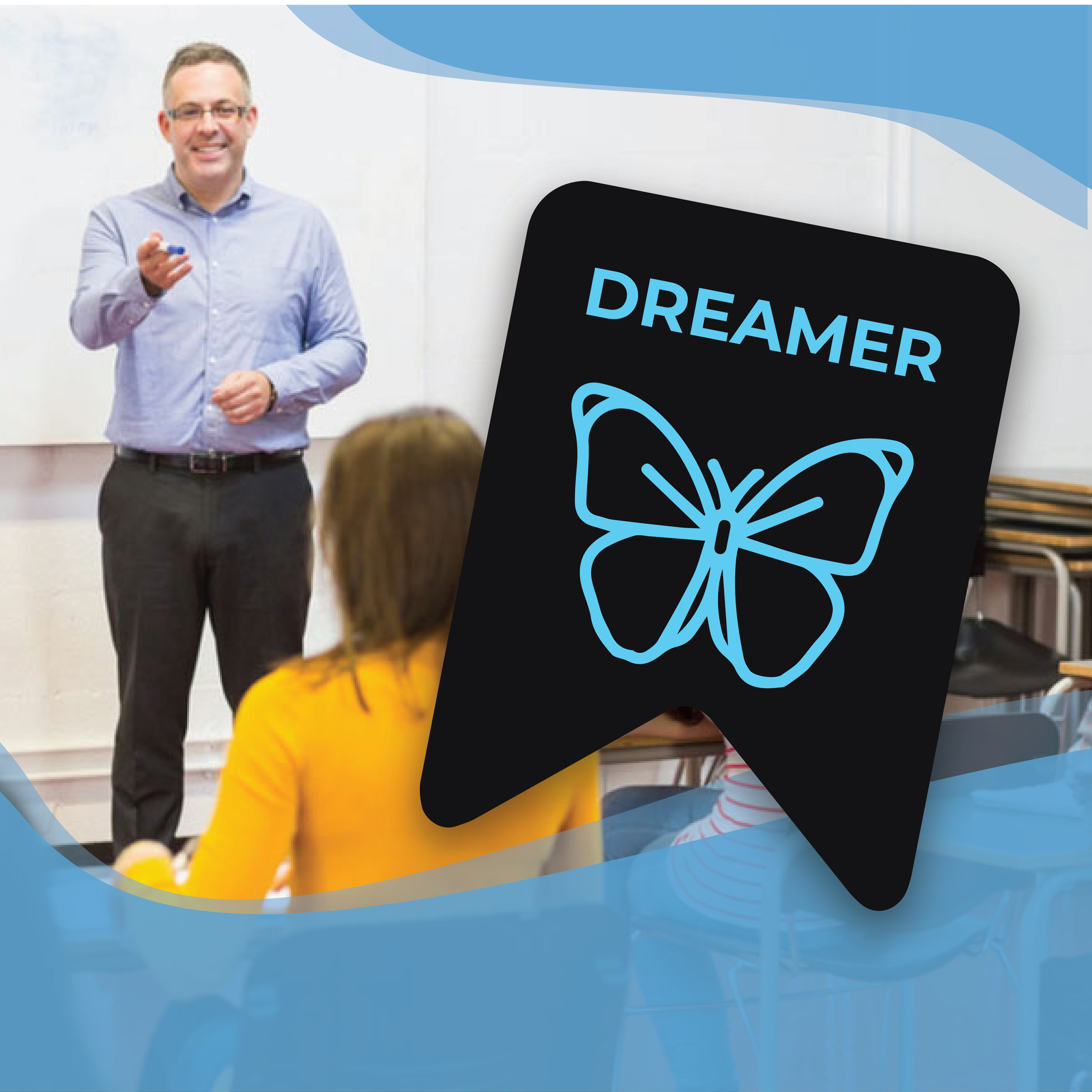 Seen here is our equity badge for Dreamers that teachers can wear around campus to show their support to help undocumented students achieve their academic goals.