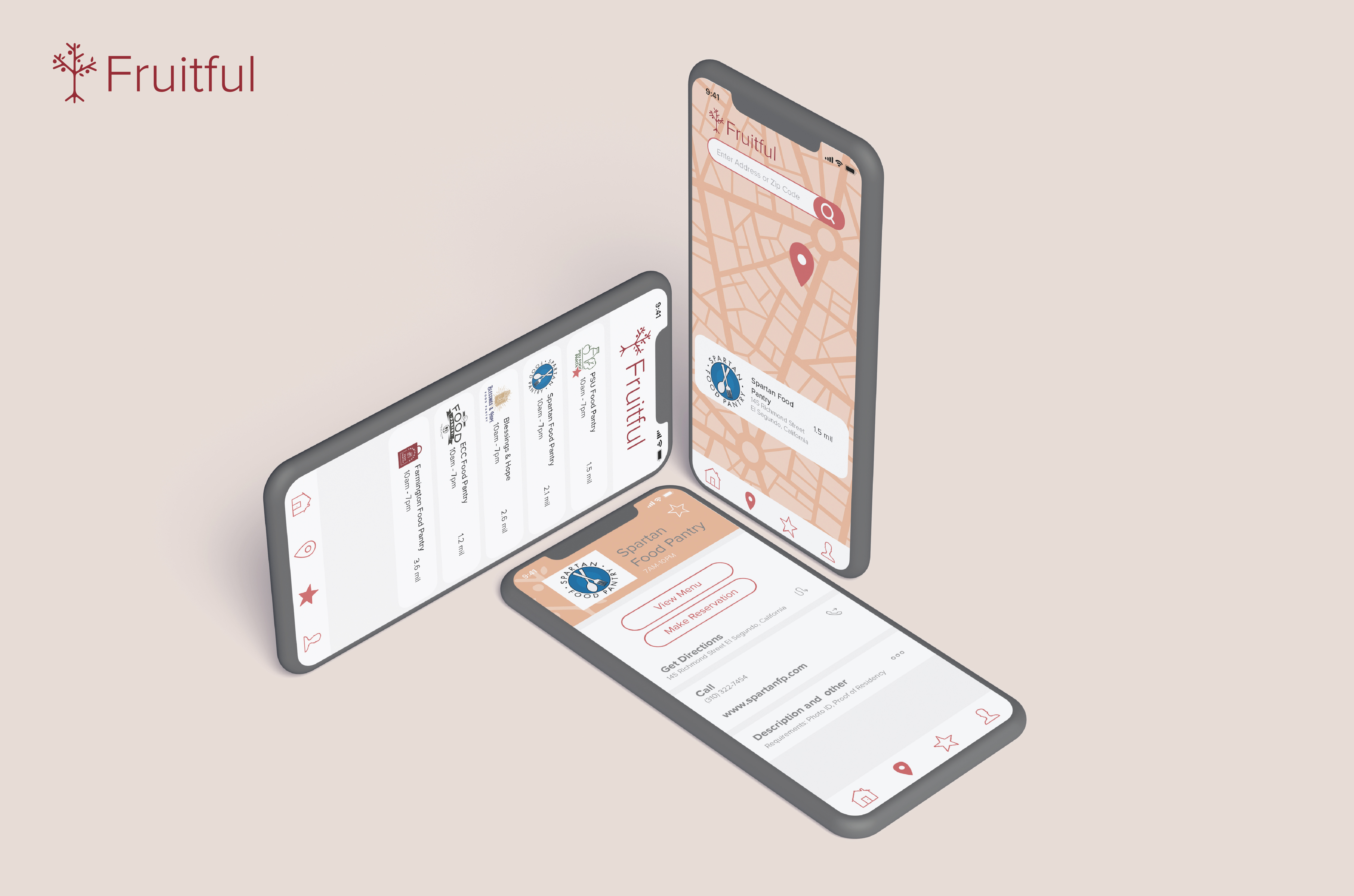 Main wireframes while using the Fruitful App.