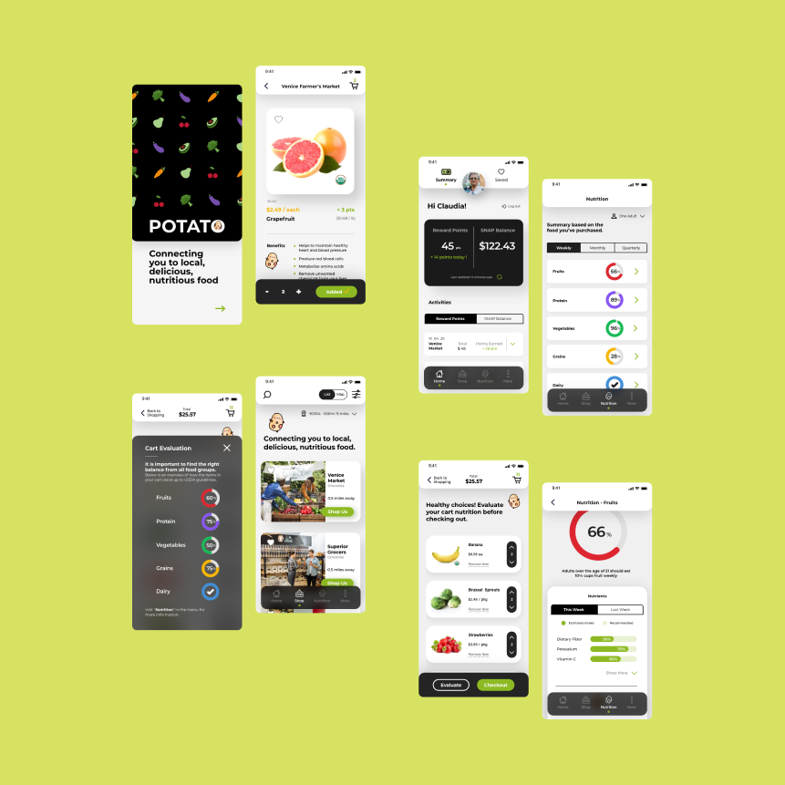 Sample screen from within the Potato app. Screens are overlaid on a neon yellow background.