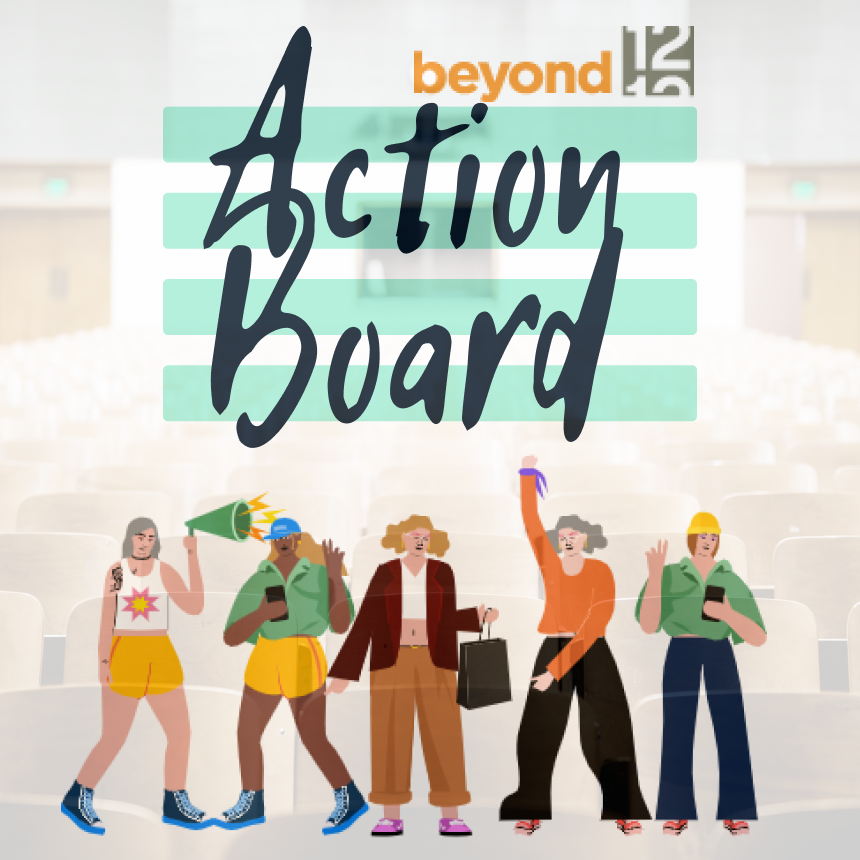 A group of students cheering in from of the action board logo.
