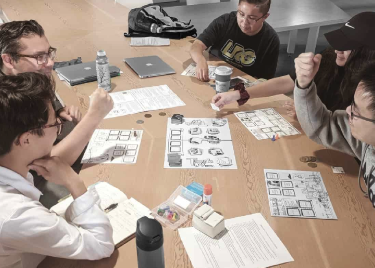 Several iteration of the game design and rule sheets were tested with board game novice and experts to improve gameplay and onboarding experience.