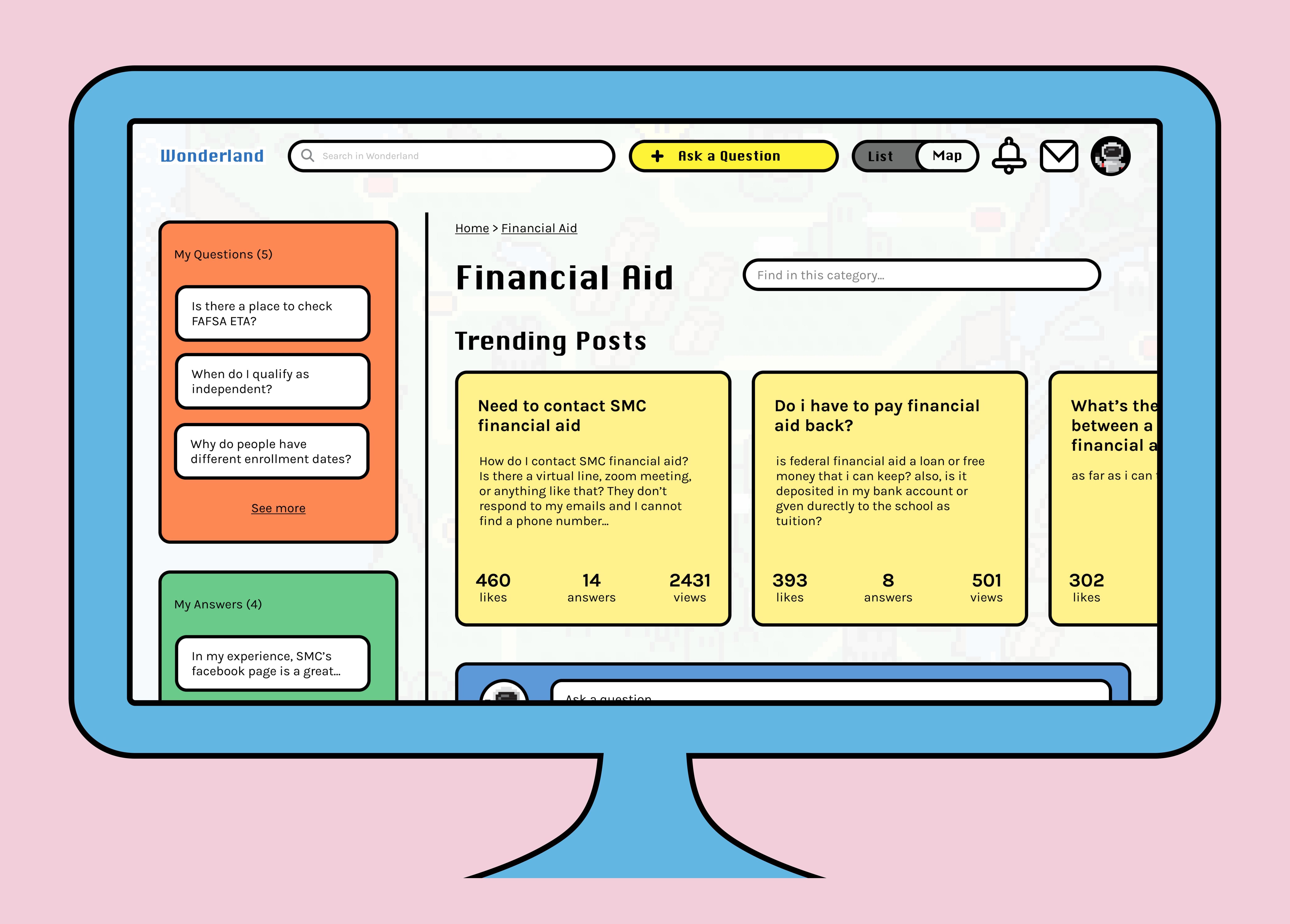 Desktop view of the Financial Aid Q&A page