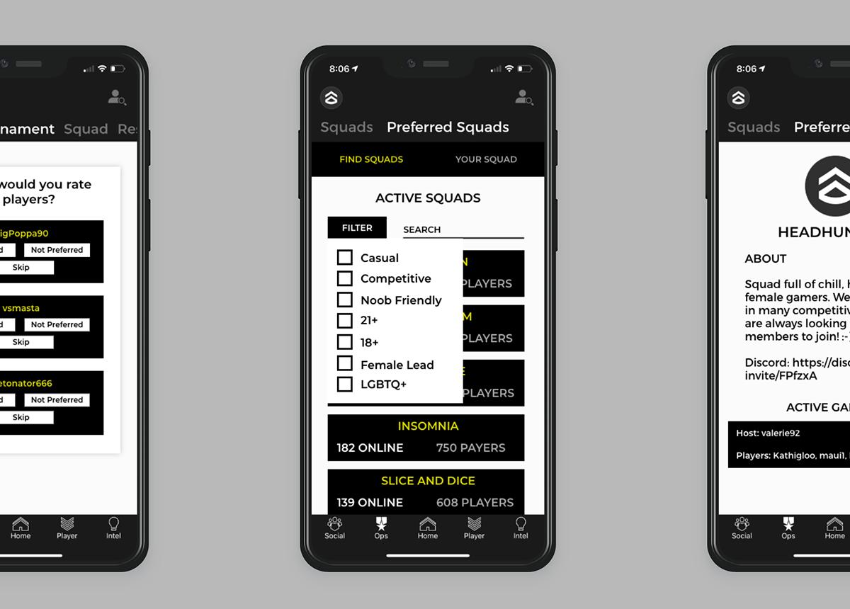 Preferred SQUADS concept screens.