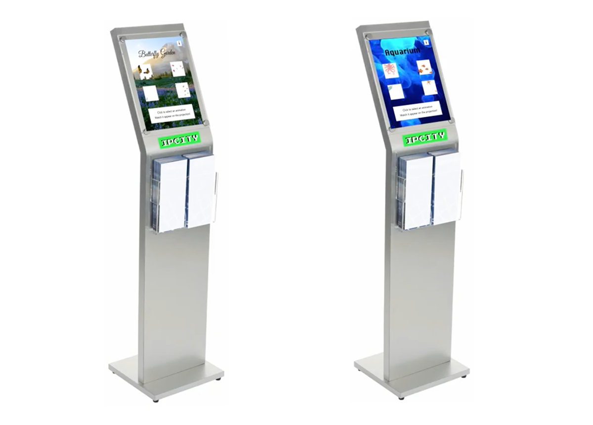 IPCITY kiosk that users can interact with to control the projection wall at the station.